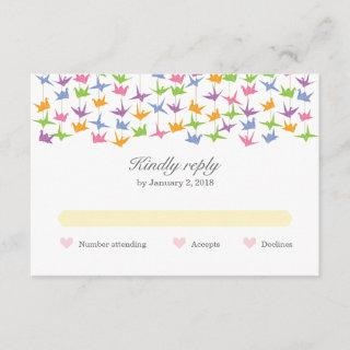 1000 Hanging Origami Paper Cranes Wedding RSVP Card