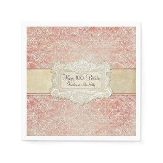 100th Birthday Party Vintage French Regency Lace Napkins