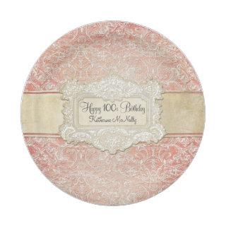 100th Birthday Party Vintage French Regency Lace Paper Plate