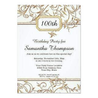 100th Hundredth Glam Old Hollywood Regency Party Invitations