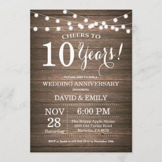 10th Wedding Anniversary Invitations Rustic Wood