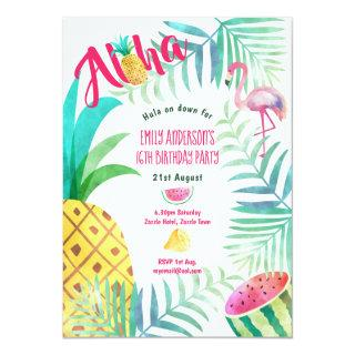 16th Tropical Pineapple Birthday Invites Flamingo