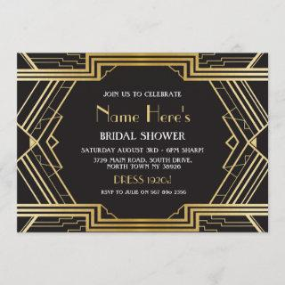 1920's Art Deco Bridal Shower Party Gatsby Gold Invitations