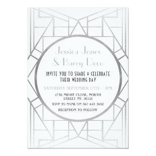 1920's Art Deco Gatsby Silver 20s Wedding Invite