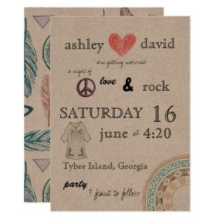 1970s themed wedding Invitations