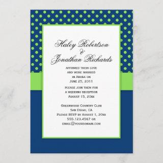 #1 Navy Blue and Lime Green Polka Dots Wedding