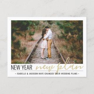 1 Photo Reduced Wedding New Years Change of Plans Holiday Postcard
