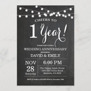 1st Wedding Anniversary Invitation Chalkboard