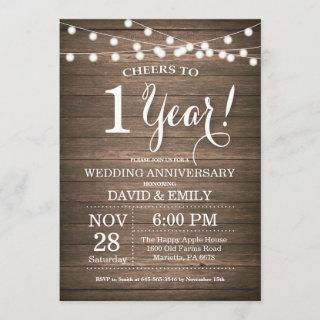 1st Wedding Anniversary Invitation Rustic Wood