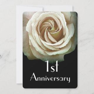 1st Wedding Anniversary  Papyrus Yellow Rose A02D Invitation