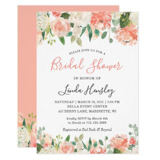 2020 Trend Coral and Peach Floral Bridal Shower Invitations