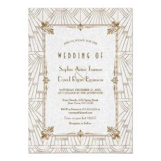 20s Royal Fleur-de-Lis Art Deco Gold White Wedding Invitations