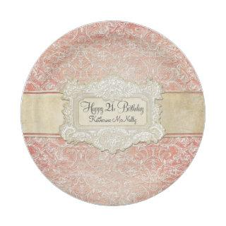 21st Birthday Party Vintage French Regency Lace Paper Plate