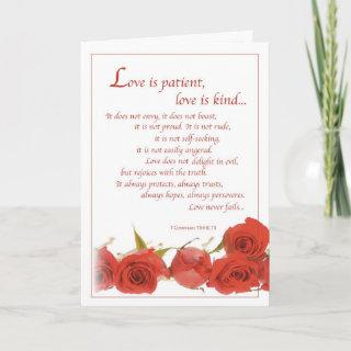 2596 Love is Patient Red Roses, Wedding Card