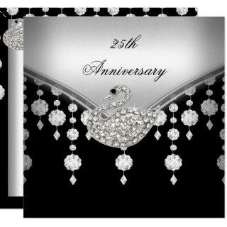25th Anniversary Elegant Silver Black White Swan Invitation
