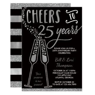 25th Anniversary Invitations, Faux Glitter/Foil Invitations