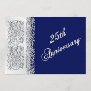 25th Anniversary Ornate Silver Scrolls with Navy