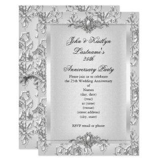 25th Anniversary Party Damask Silver White Small Invitation