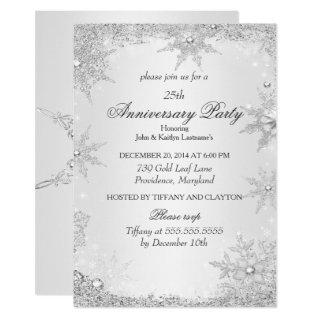 25th Anniversary Party Silver Winter Wonderland Invitation