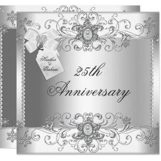 25th Anniversary Silver White Diamond Invitation