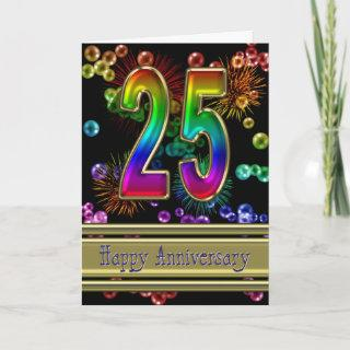 25th anniversary with fireworks and bubbles card
