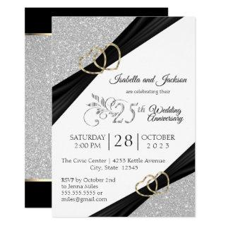 25th Silver Glitter and Gold Heart Anniversary Invitation