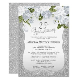 25th Silver Glitter Anniversary | DIY Text Invitation