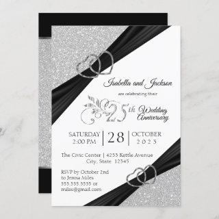 25th Silver Glitter Wedding Anniversary Invitations