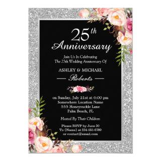 25th Silver Wedding Anniversary Elegant Floral Invitation