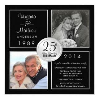 25th Silver Wedding Anniversary Surprise Party Invitation