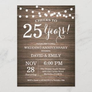 25th Wedding Anniversary Invitations Rustic Wood