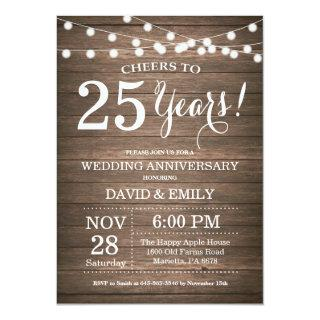 25th Wedding Anniversary Invitation Rustic Wood