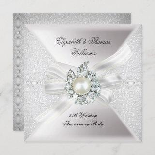 25th Wedding Anniversary Party Lace Pearl White Invitations