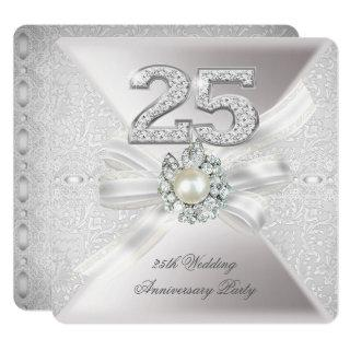 25th Wedding Anniversary Party Pearl Silver Invitations
