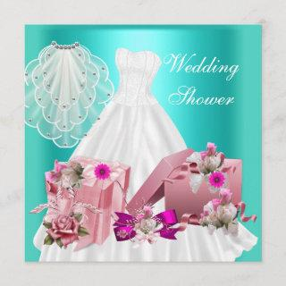 2 Bridal Wedding Shower Fuchsia Turquoise Pink Invitations