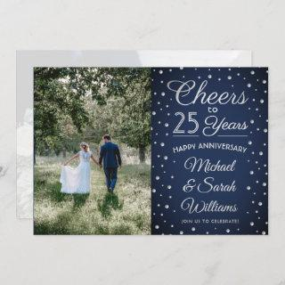 2 Photo Any Year Anniversary Navy Blue White 25th Invitation