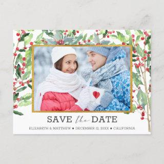 2 Photo Gold Foil Holiday Wedding Save the Date