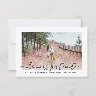 2 Photo Love is Patient Wedding Postponement Save The Date