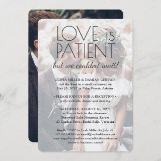 2 Photo Love is Patient Wedding Reception Only
