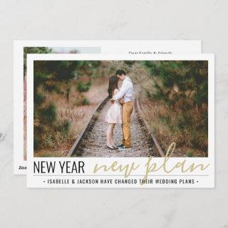 2 Photo Reduced Wedding New Years Change of Plans Holiday Card