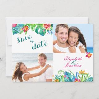 2 Photo Tropical Beach Pink Teal Floral Ombre Save The Date