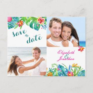 2 Photo Tropical Berry Pink Teal Floral Announcement Postcard