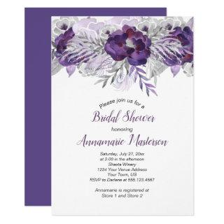 #2 Ultra Violet Lavender Gray Floral Bridal Shower Invitation