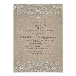 30th Wedding Anniversary Party Rustic Pearl Lace Invitations