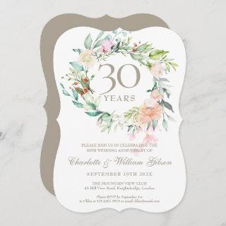 30th Wedding Anniversary Pearl Roses Floral Invitations