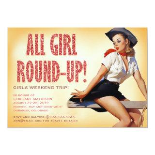 311 All Girl Round-up Cowgirl Pinup Girl Sparkle Invitation