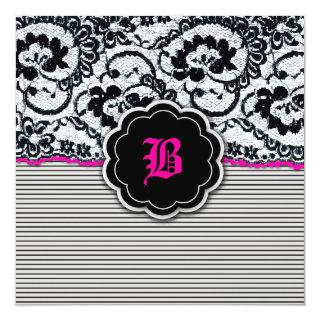 311-Alluring Lace - Hot Pink Invitations