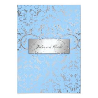 311-Silver Divine | Light Blue Invitation