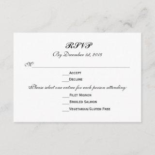 3 Entree Choices RSVP Wedding Response Reply