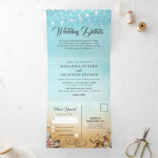 3 in 1 Beach Destination Wedding Tri-Fold Invitation